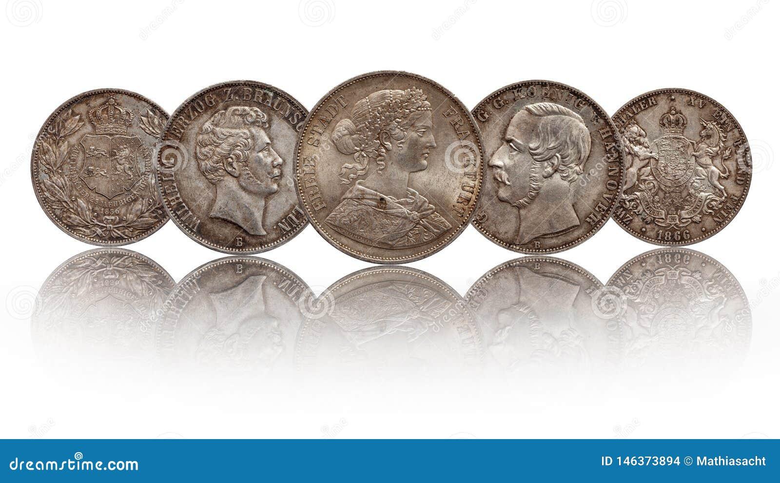 Thaler Hanovre, Francfort, Brunswick Lueneburg de thaler allemand des pièces en argent deux de l Allemagne double