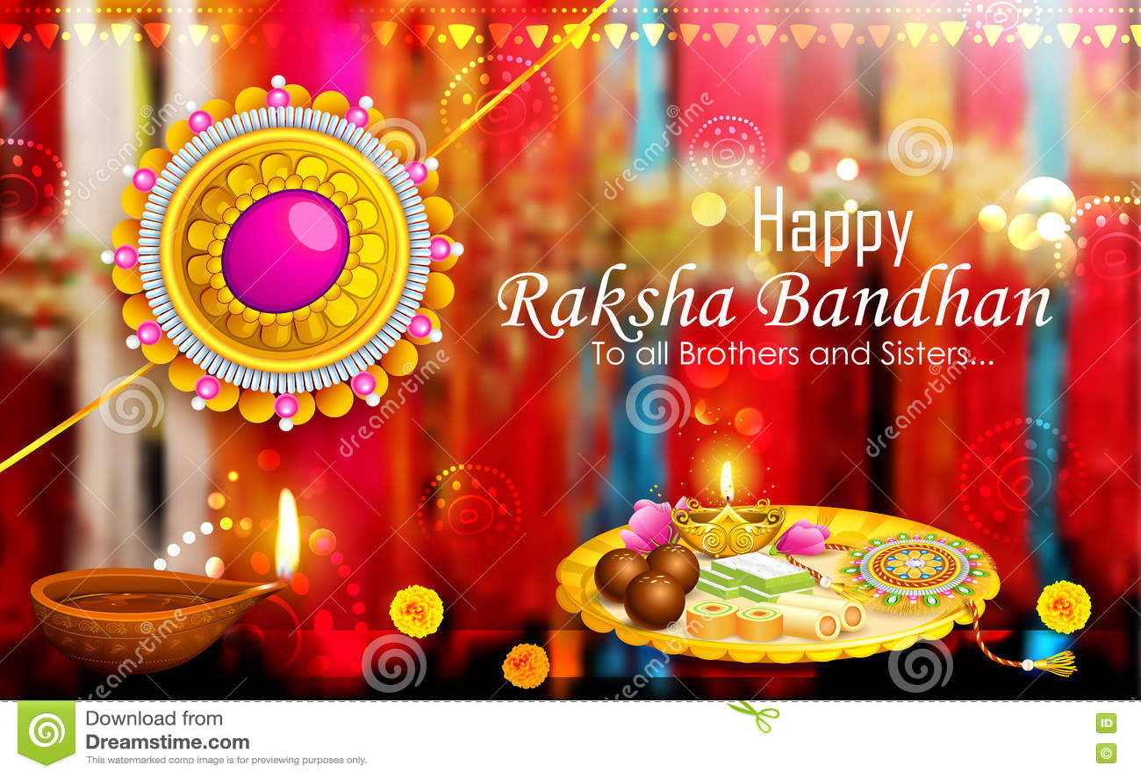 Thali decorado do puja com o rakhi para Raksha Bandhan