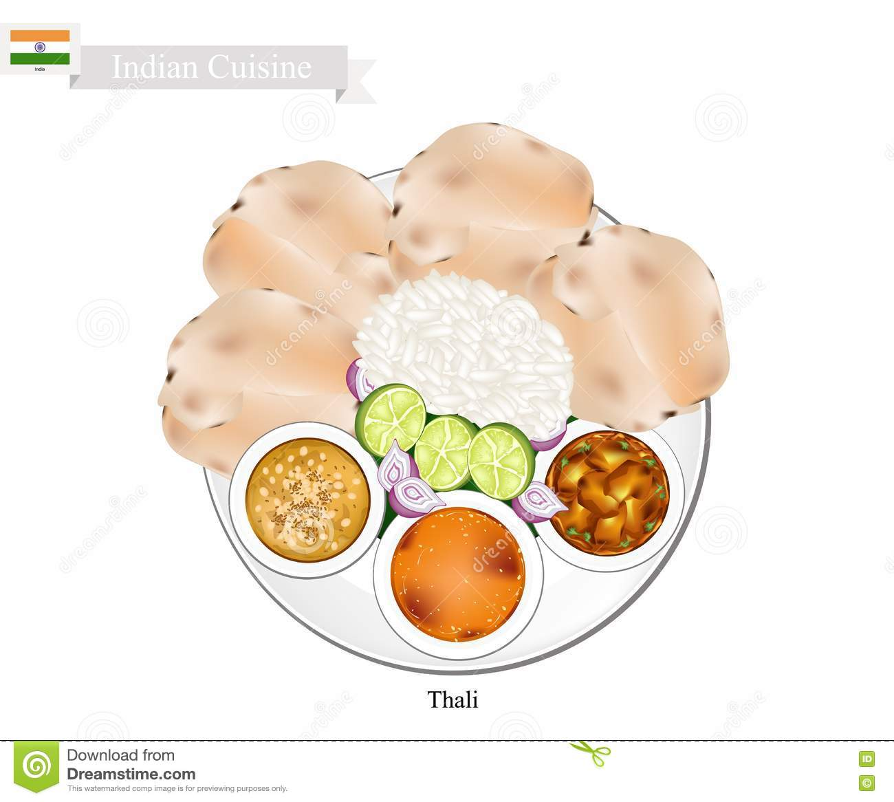 Thali Or Indian Steamed Rice, Flatbread And Lentil Soup Stock