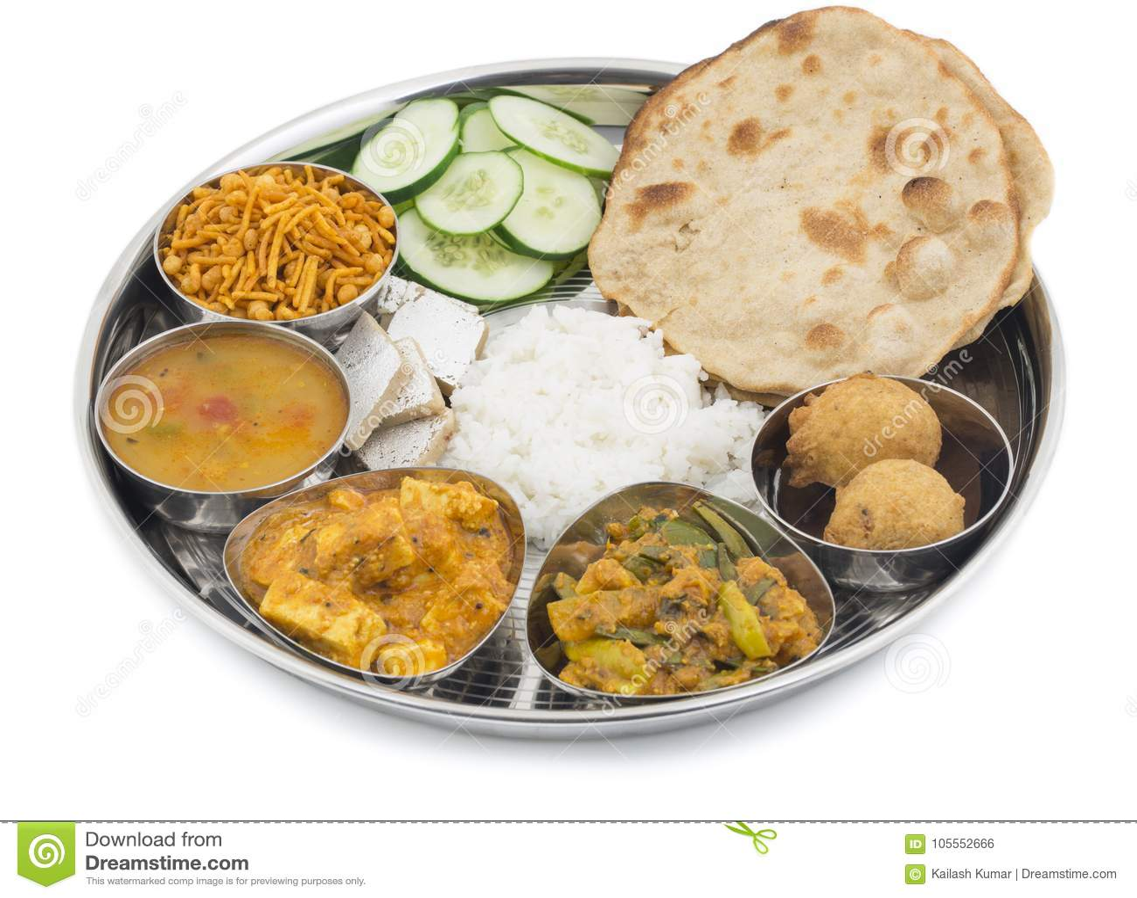 Thali indien de nourriture