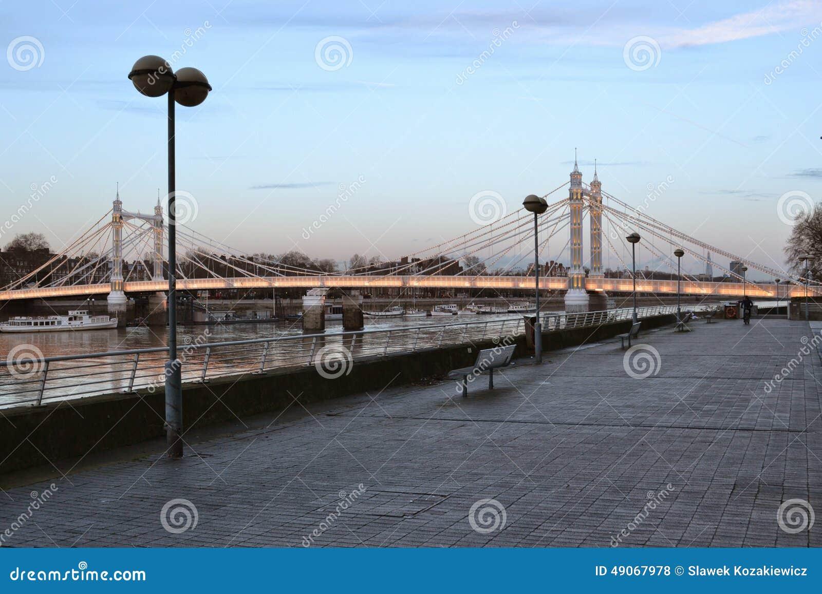 Thames Path and Albert Bridge London