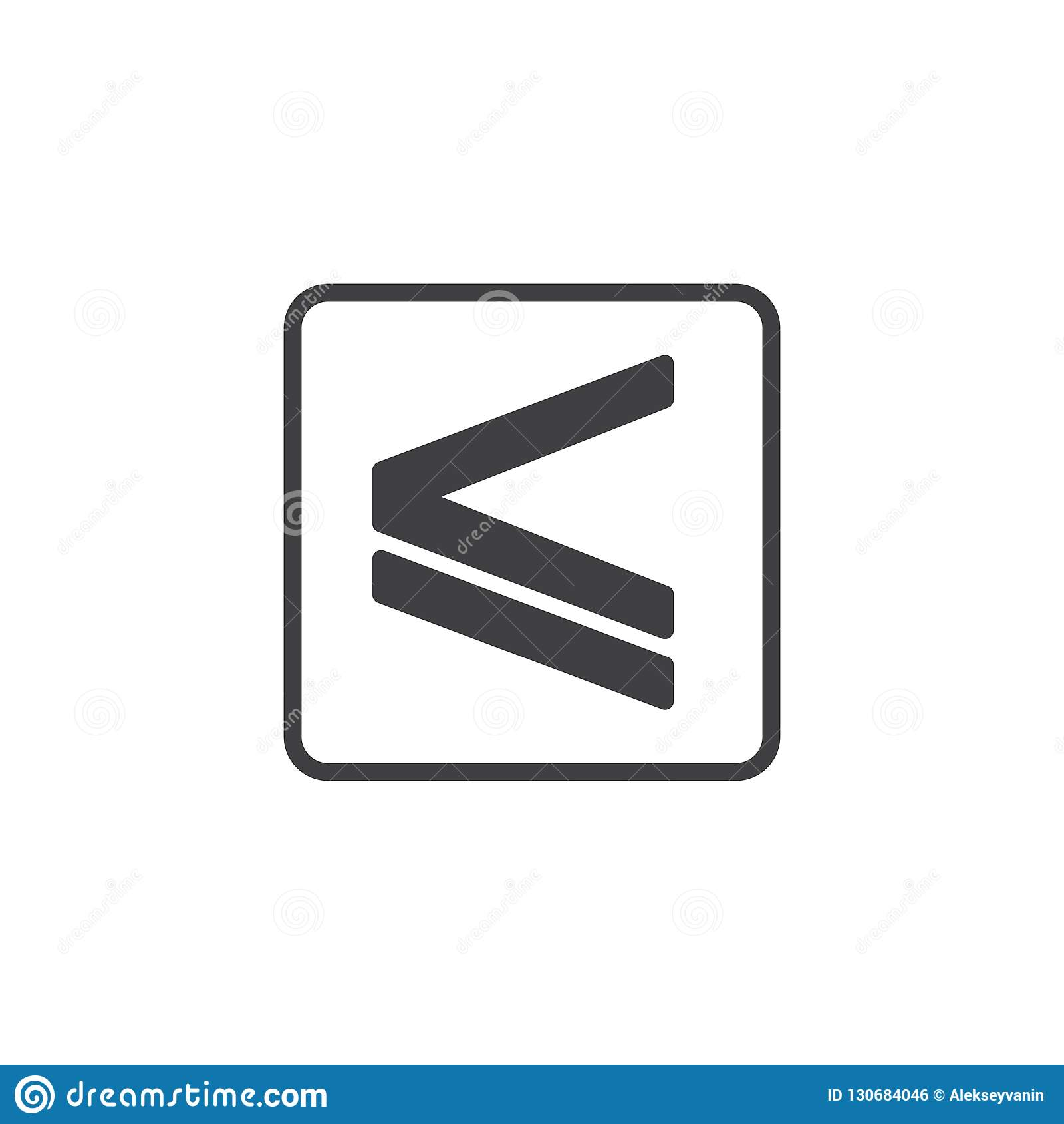 Is less than or equal to vector icon