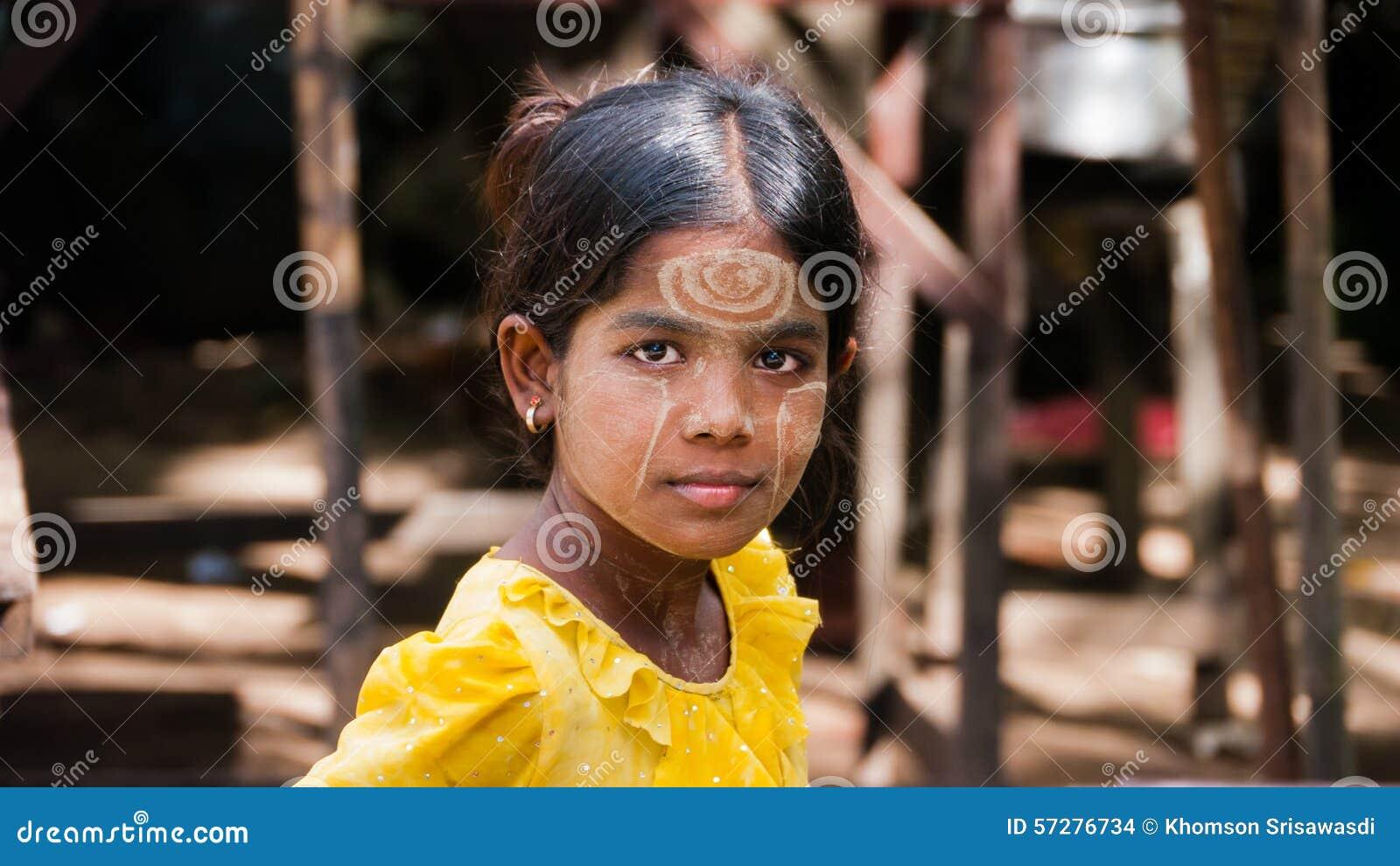 Thanaka Burmese Girl editorial stock image  Image of asian