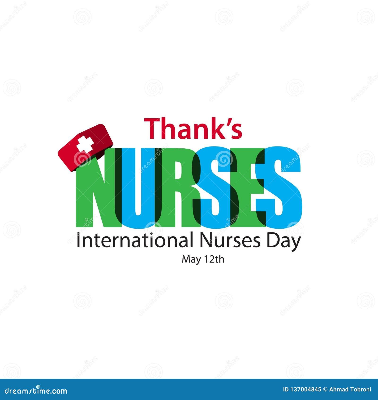 Thank' s pflegt internationale Krankenschwester-Tagesvektor-Schablonen-Entwurfs-Illustration