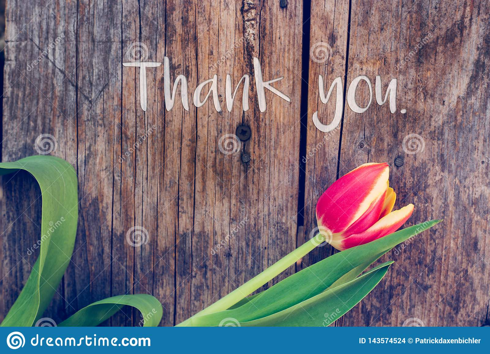 """Thank you: Arrangement of colorful tulips on a rustic wooden table, """"Thank you"""