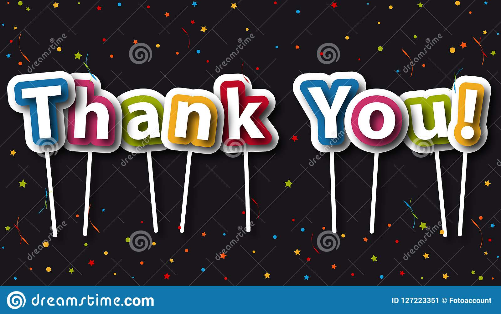 Thank You Background With Confetti And Stars - Colorful Vector Illustration - Isolated On Black Background
