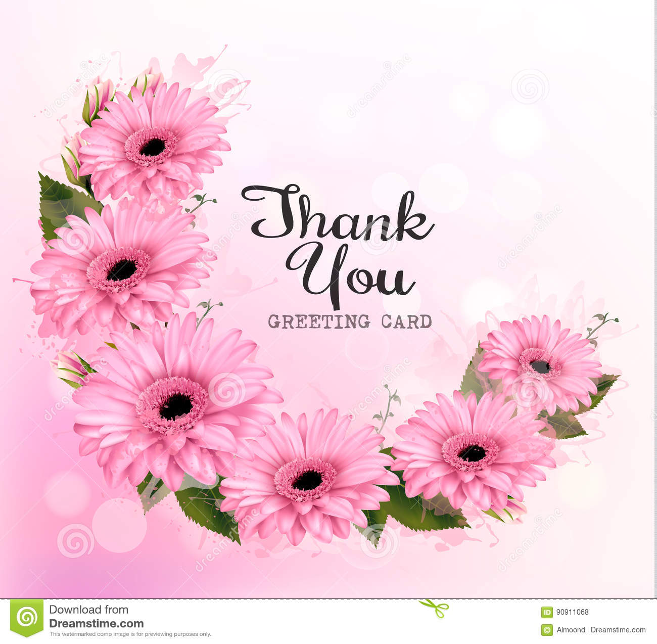 Beautiful Flower Thank You: Beautiful Flowers In Pot With Message Card