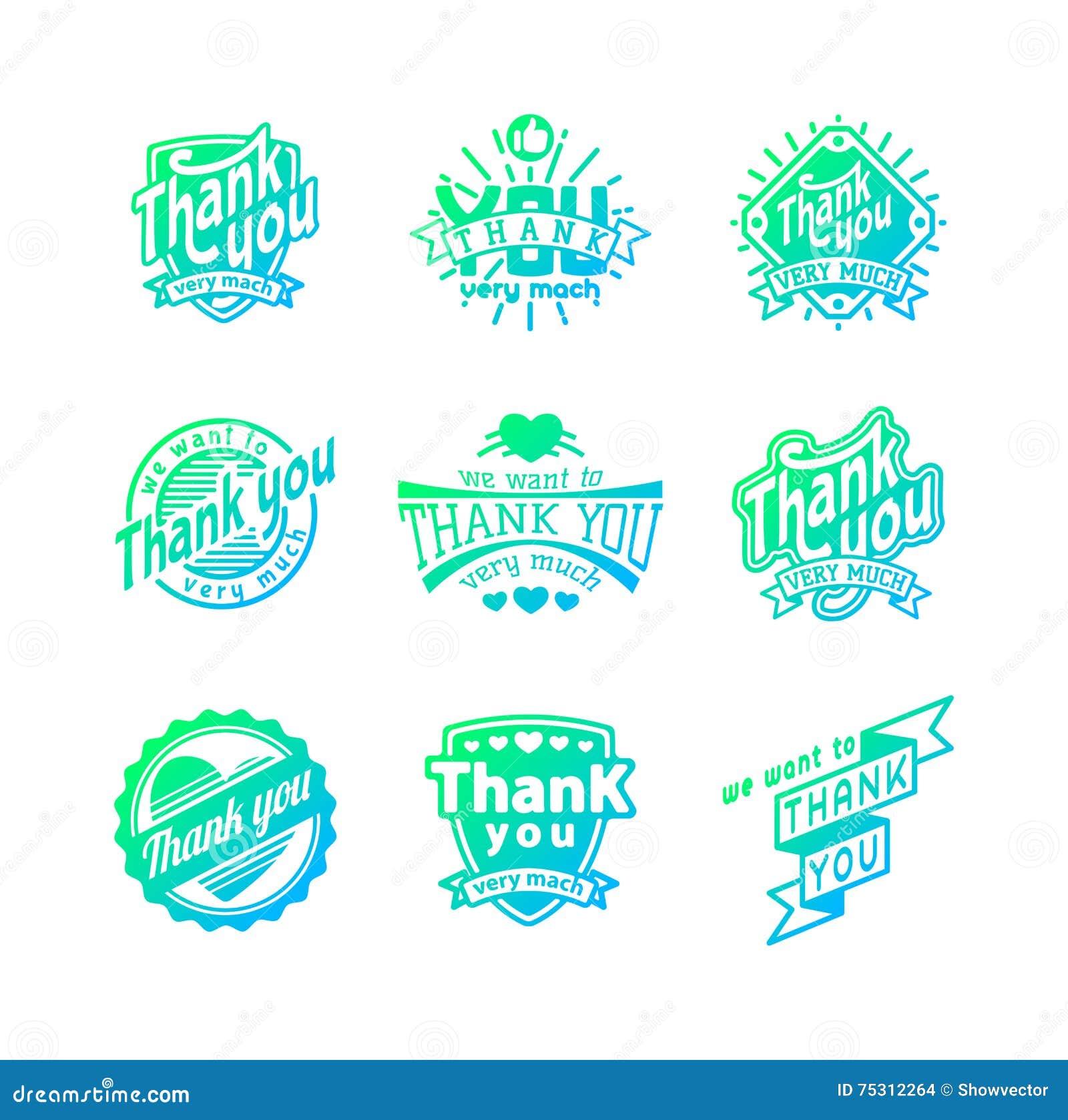 Progressive Logo Design For You Choose The Text Style To: Thank You Text Lettering Vector Logo Badge Cartoon Vector