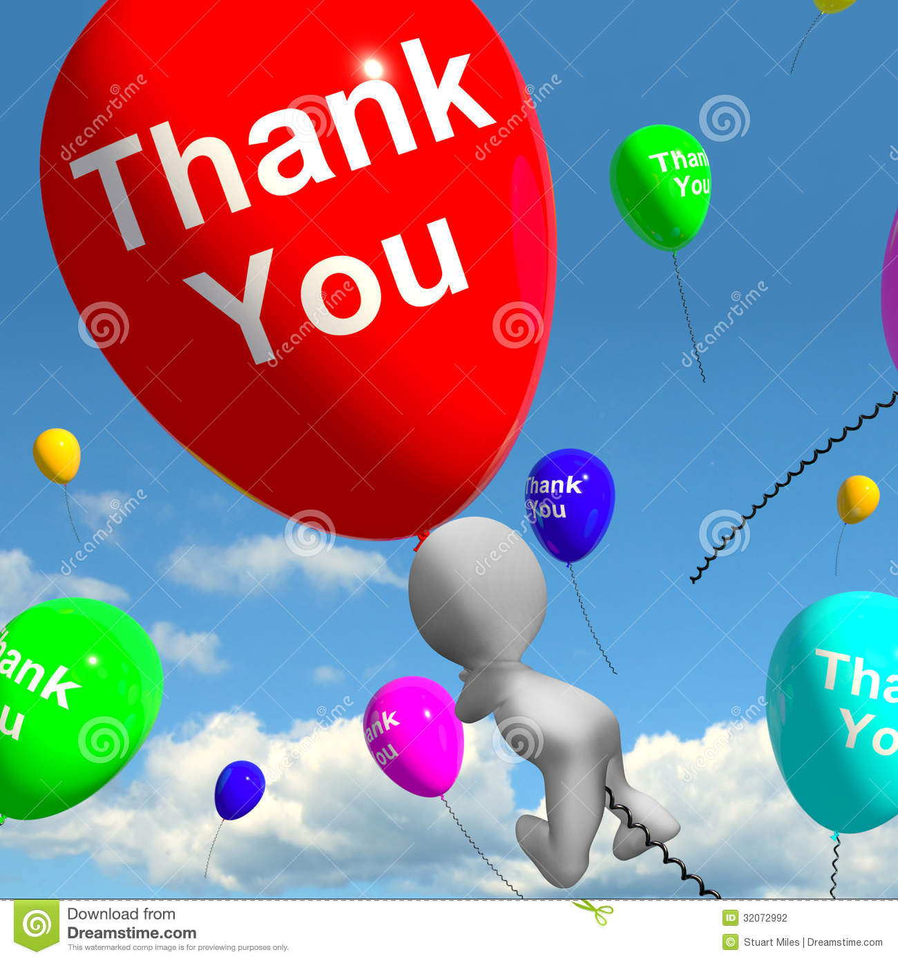 Thank You Balloons Showing Thanks And Gratefulness Stock