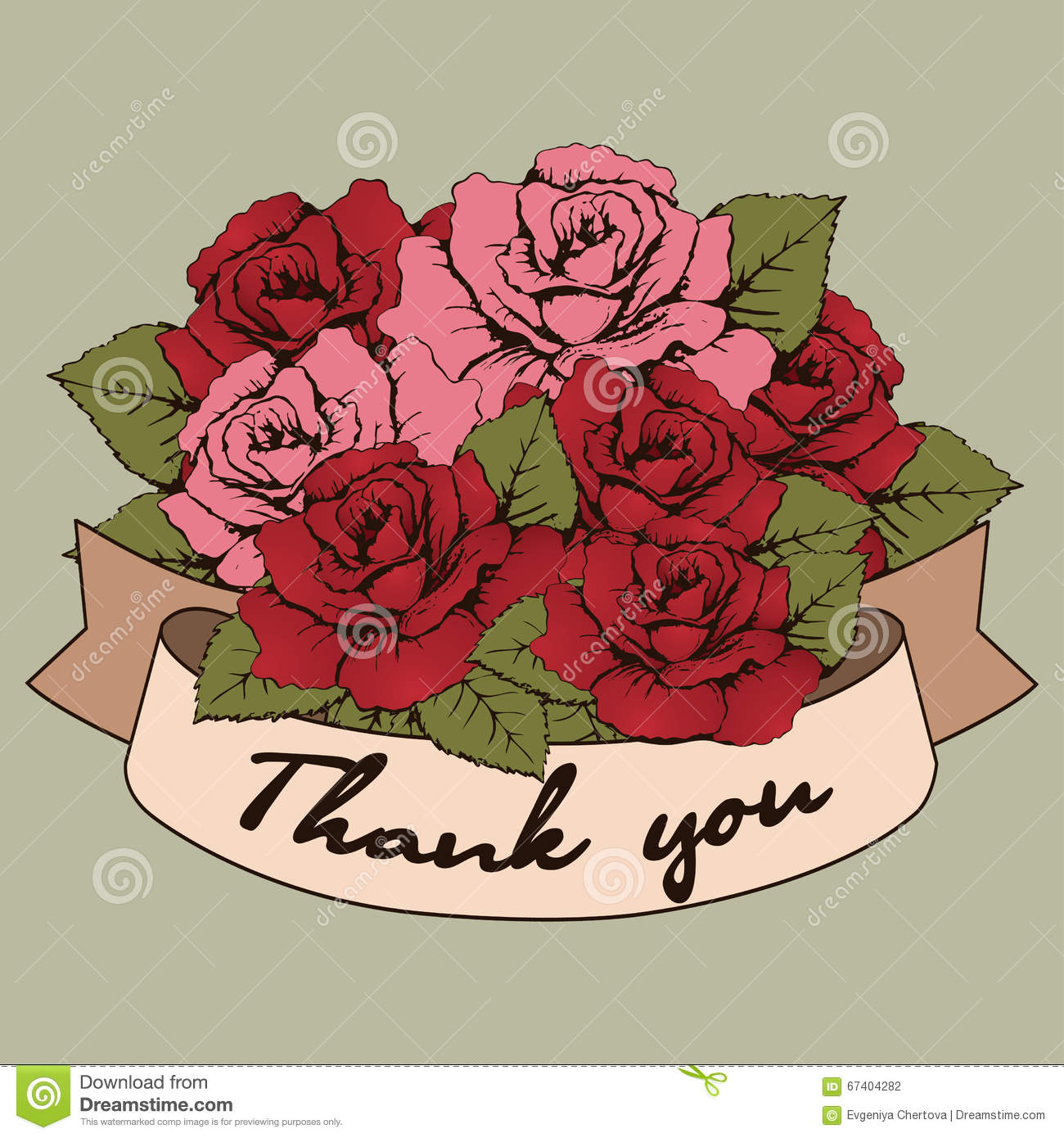 Thank You Banner, Vintage Bouquet Of Roses Flowers With A Curved ...