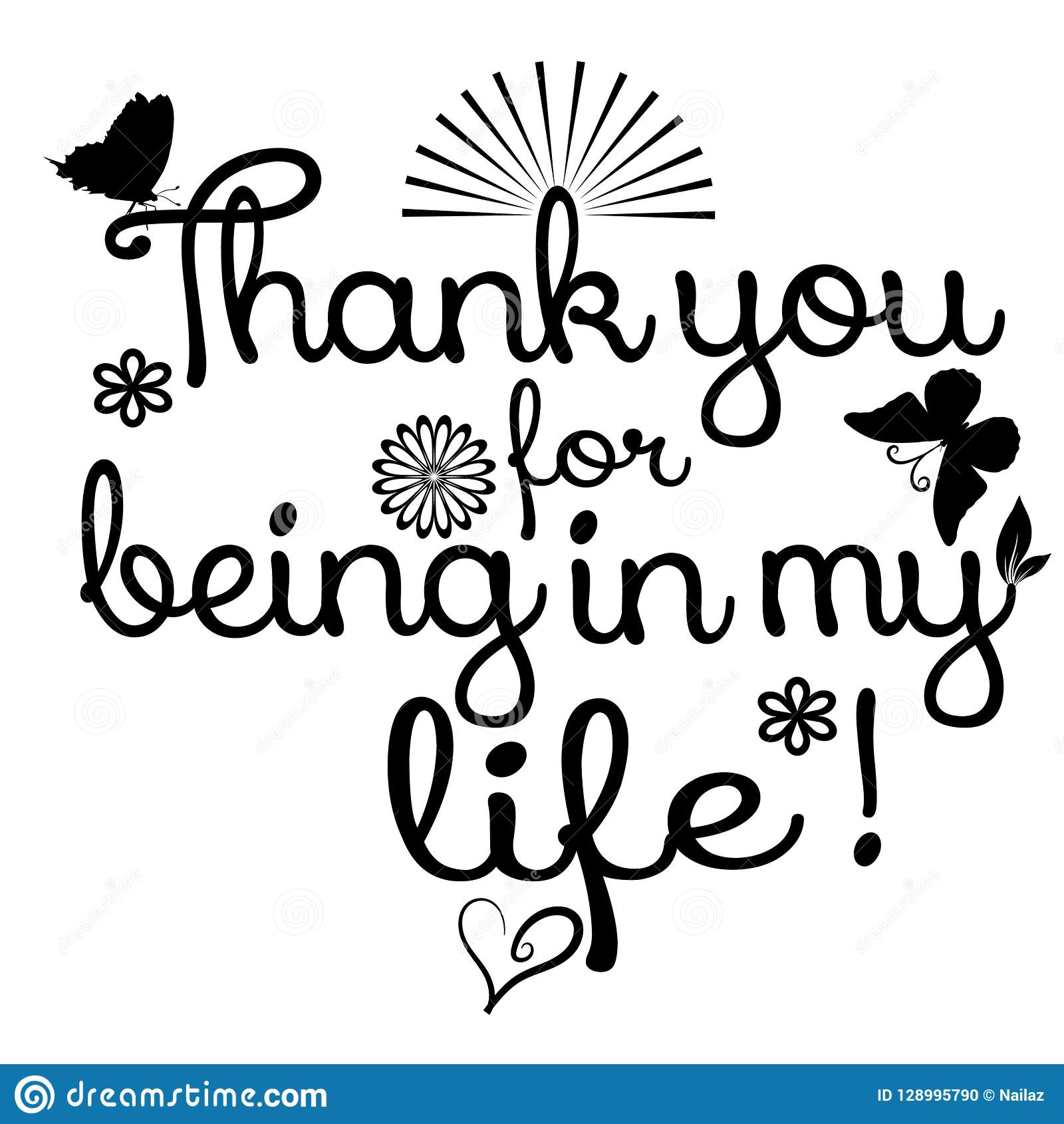 Thank You For Being In My Life Vector Phrase Text Ornamental