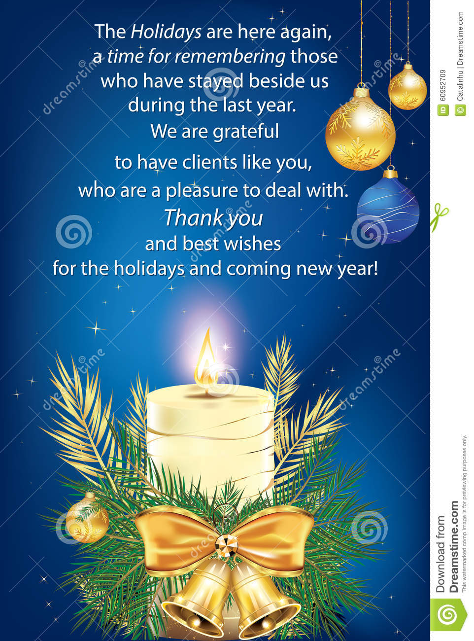 Thank You Blue Business Greeting Card Stock Illustration ...