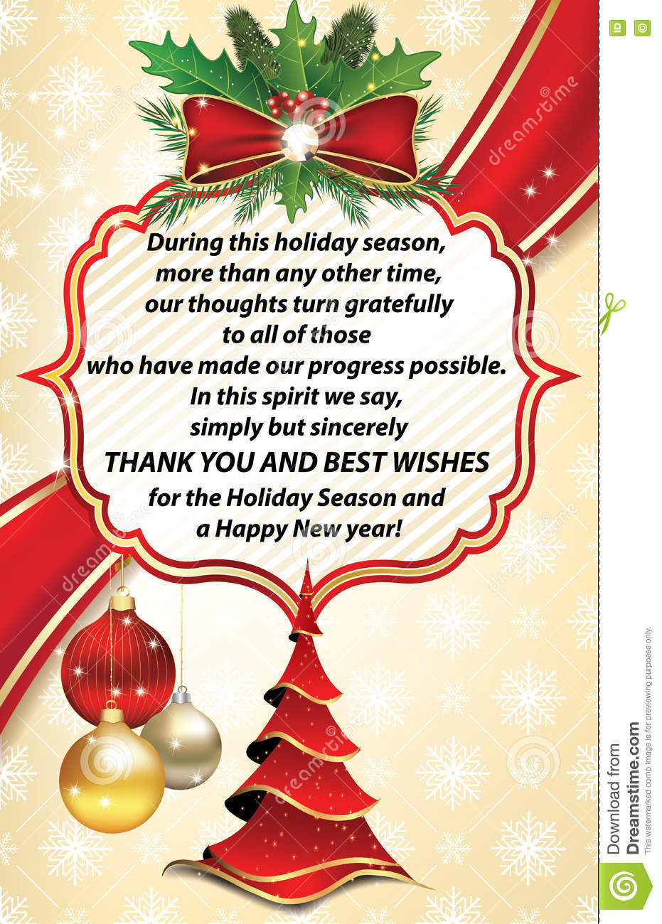 Thank You Business Greeting Card For New Year Stock Photo Image Of