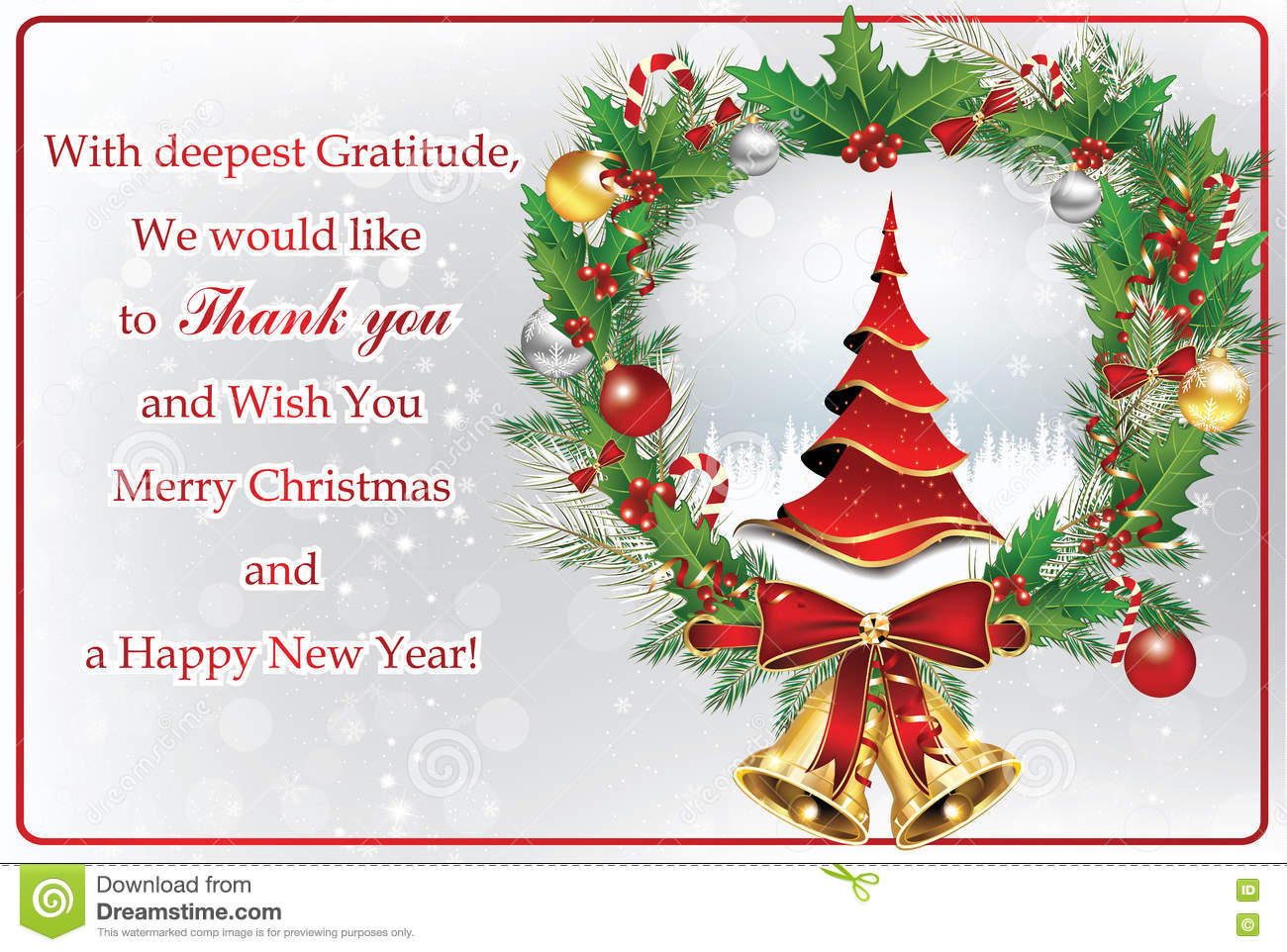 Thank You Business Greeting Card For New Year Stock Illustration