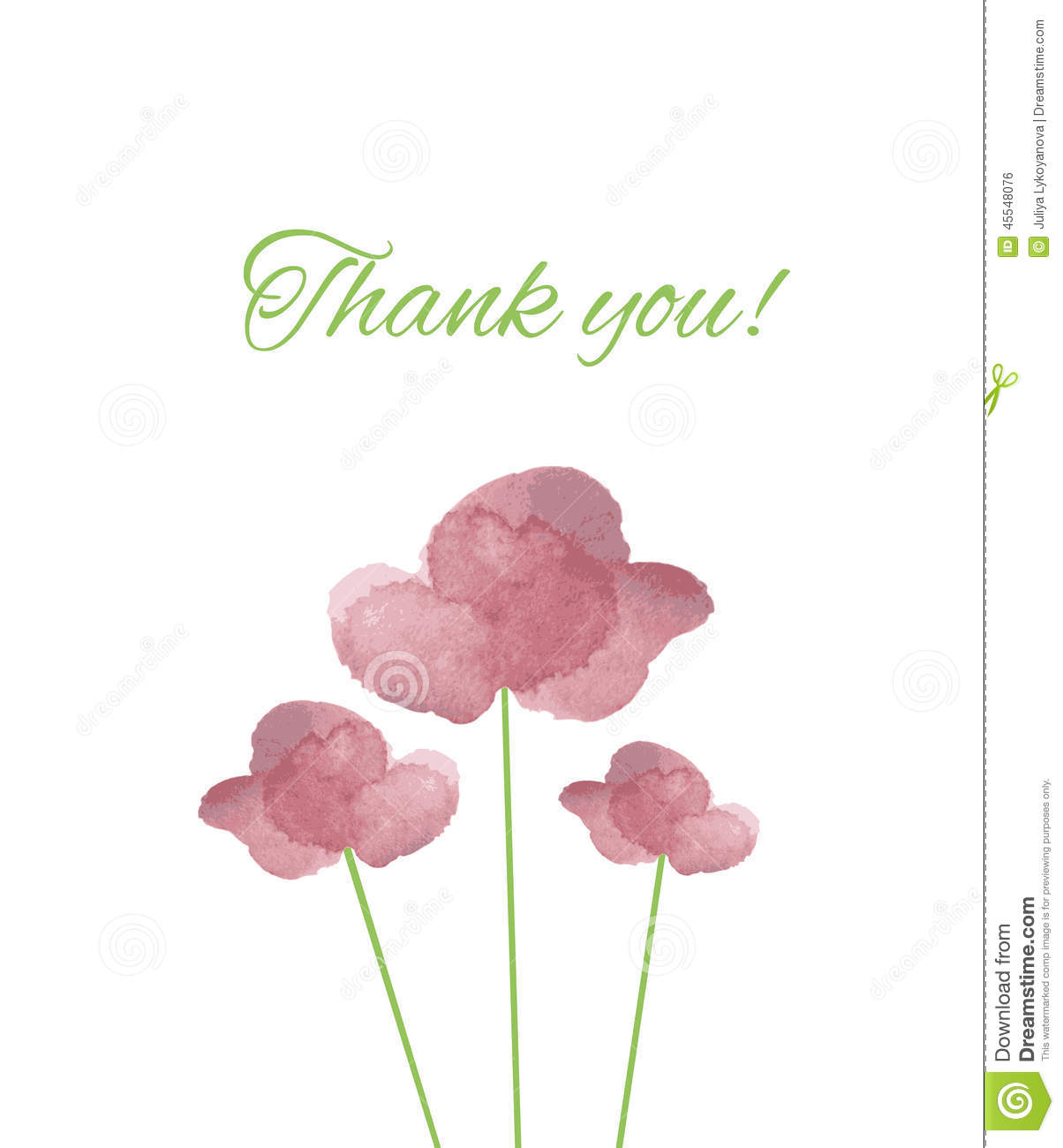 Thank You Calligraphy Vector With Watercolor Pink Flowers Stock Vector