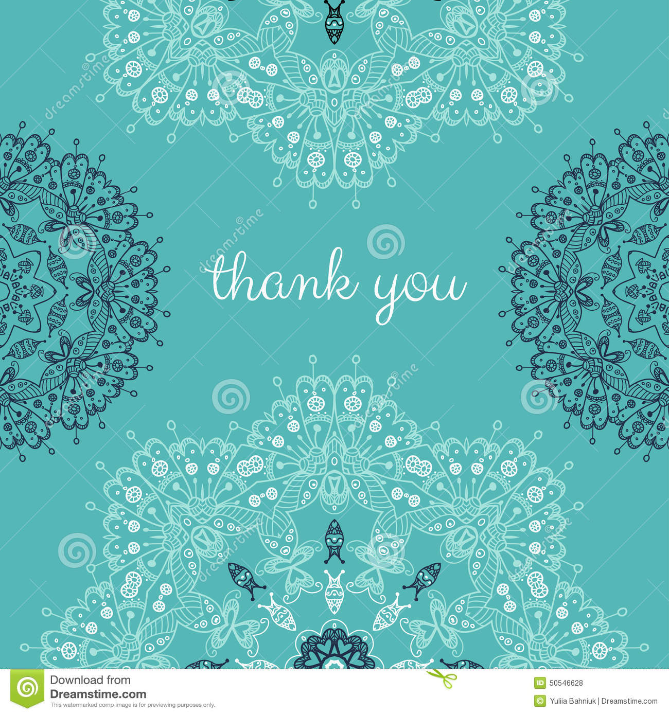 Thank You Card With Abstract Vector Ornamental Round ...