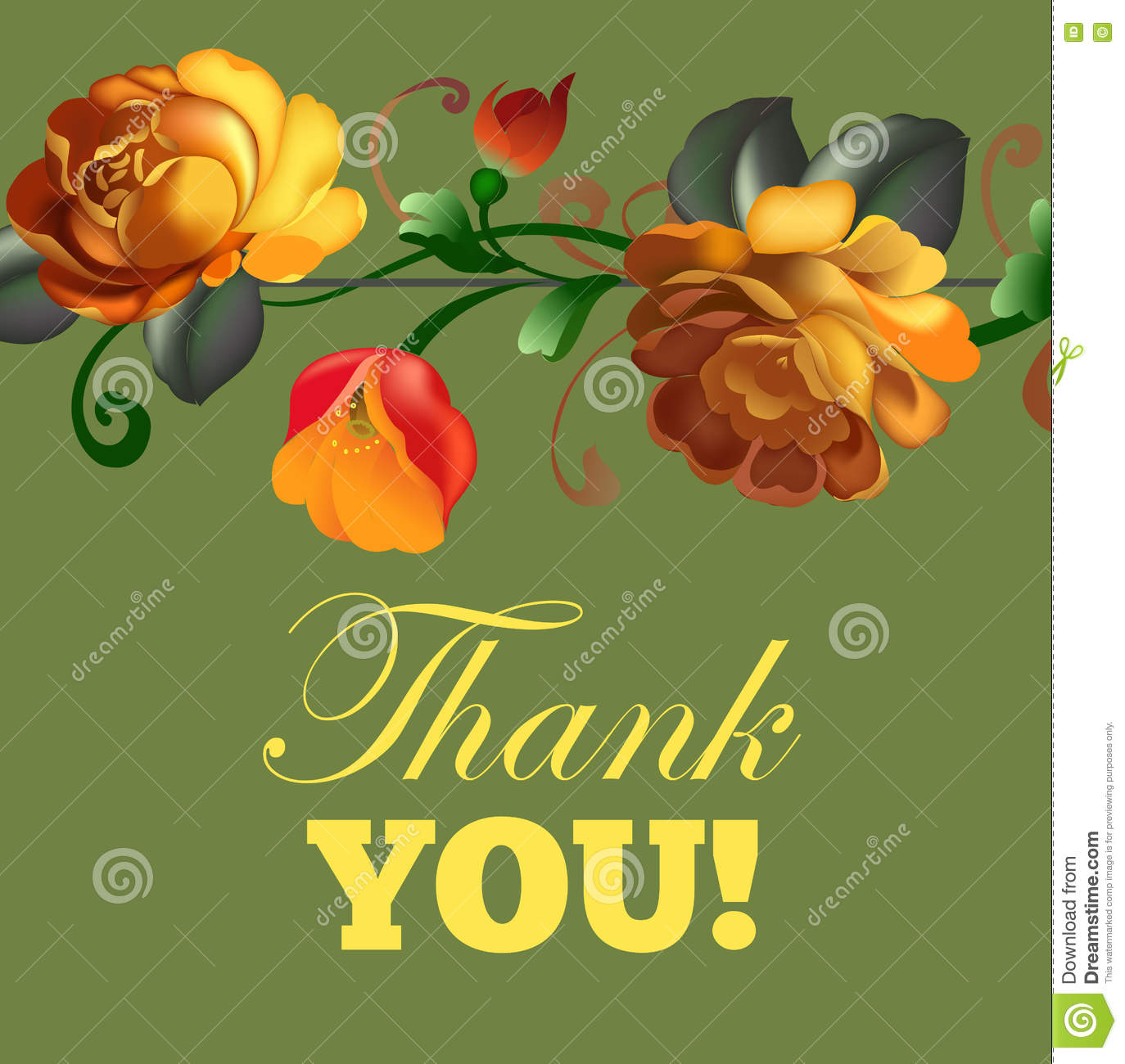 Beautiful Flower Thank You: 'Thank You' Card With Beautiful Vintage Flowers Stock