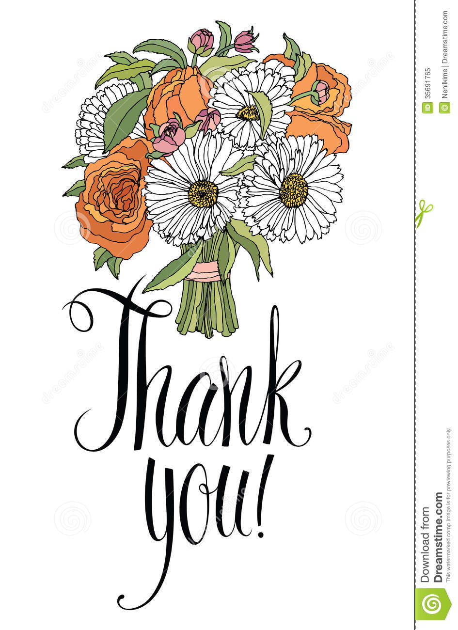 Thank You Card With Bouquet Calligraphy And Hand Royalty