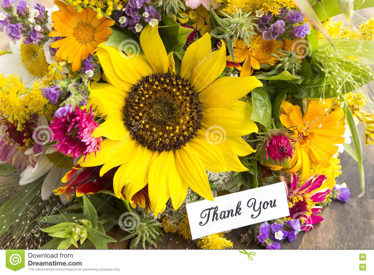 Thank you flowers stock photos royalty free stock images thank you card with bouquet of summer flowers royalty free stock images izmirmasajfo