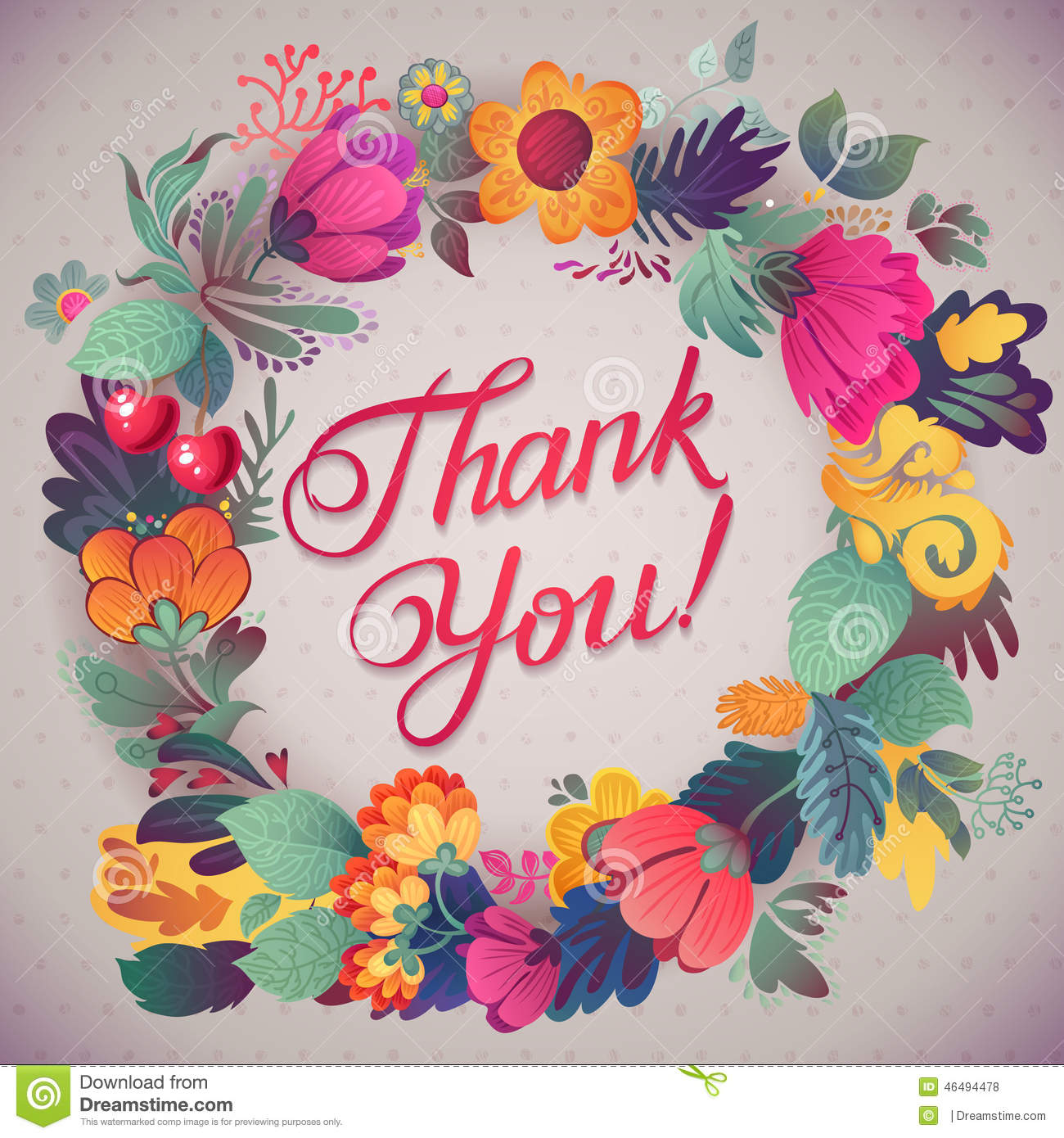 thank you card in bright colorsstylish floral background
