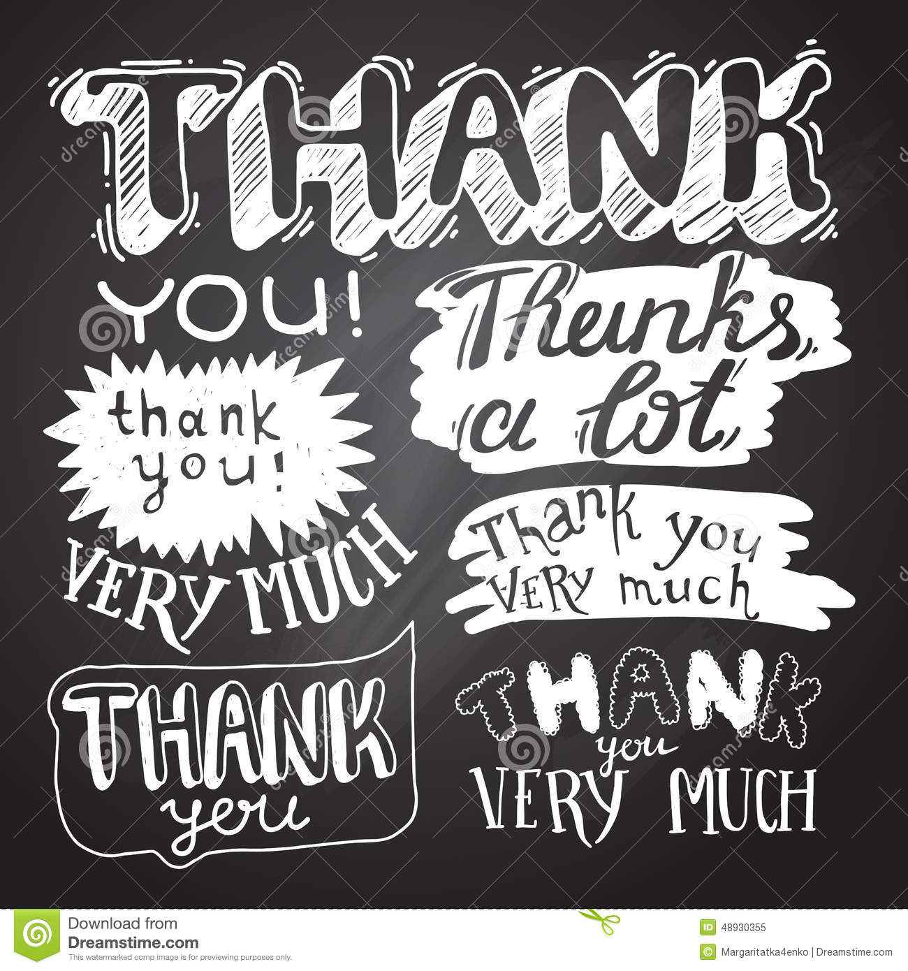 thank you card with chalkboard background stock vector