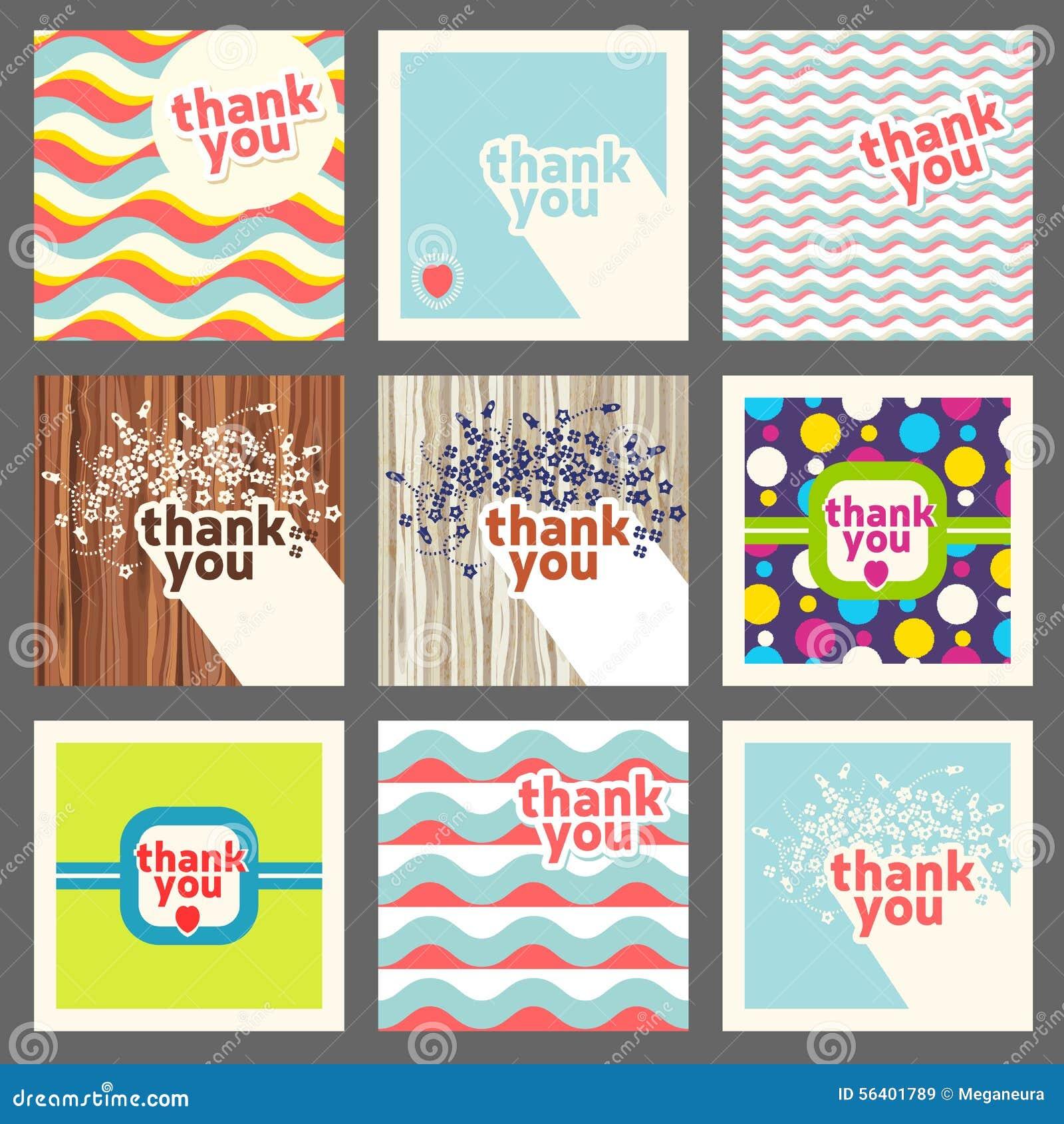 thank you card design template set retro style stock vector image 56401789. Black Bedroom Furniture Sets. Home Design Ideas