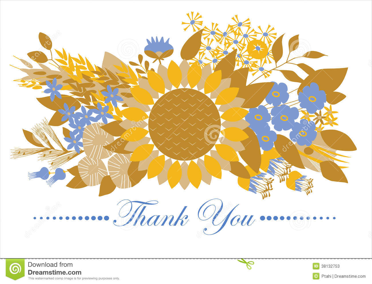 Thank You Card Floral Design Stock Vector Illustration Of