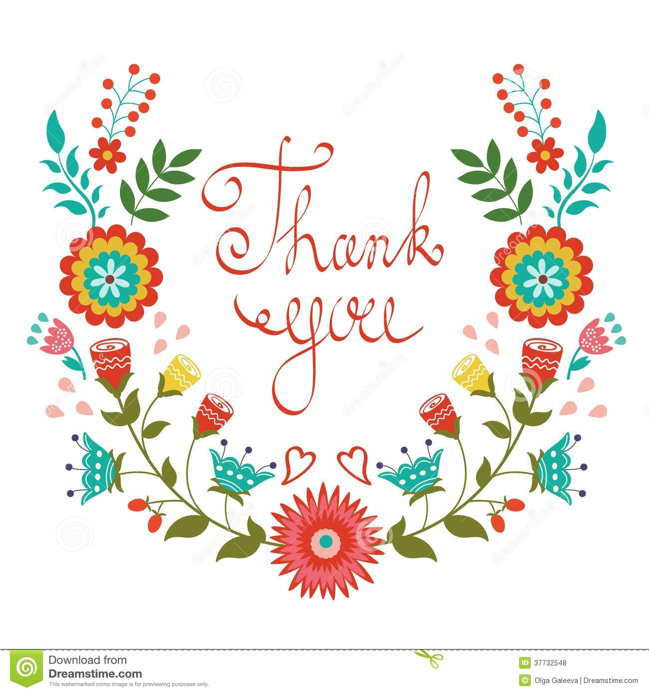 Thank you card with floral wreath stock vector illustration of thank you card with floral wreath izmirmasajfo