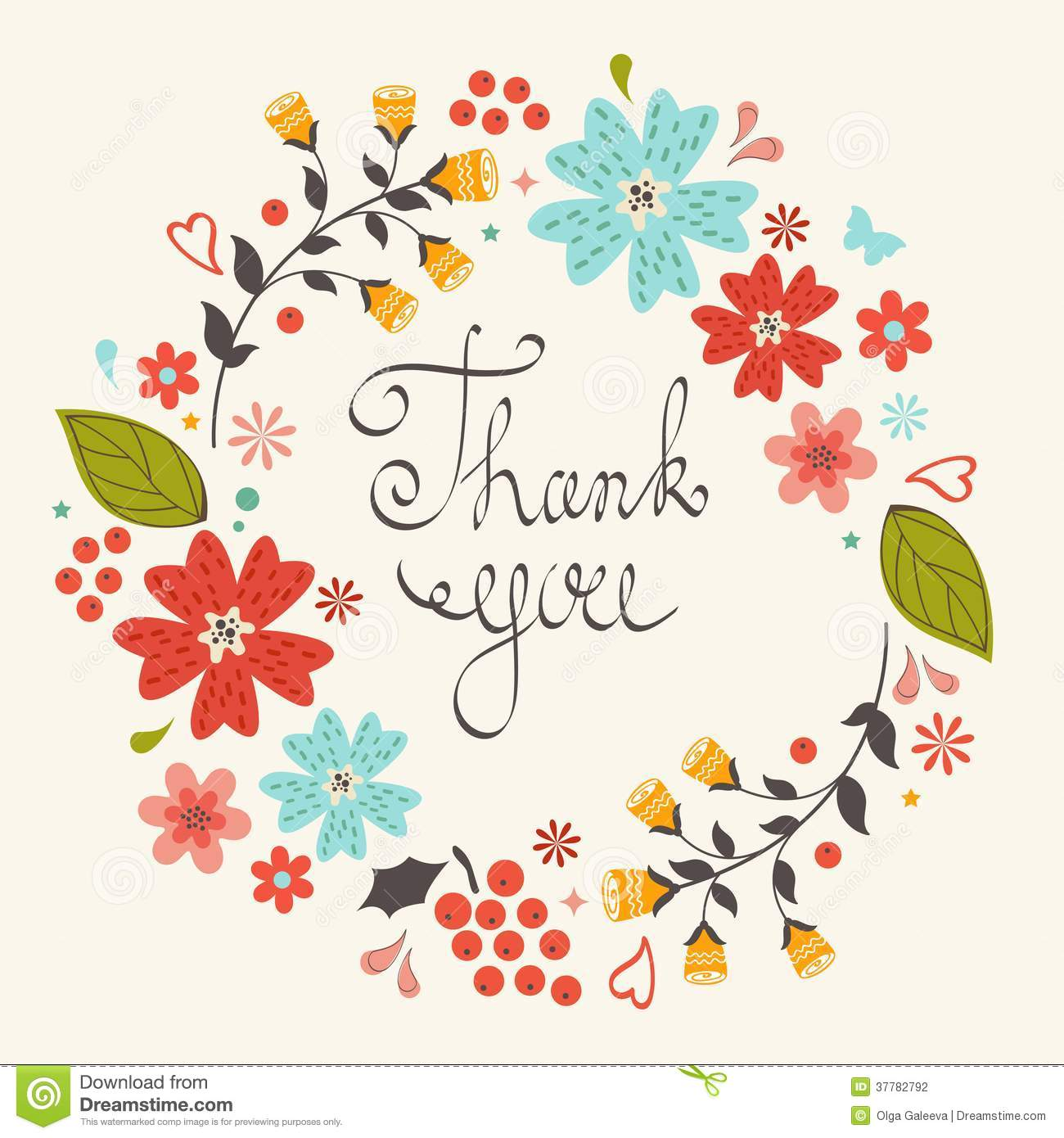 Thank You Card With Floral Wreath Stock Photography Image 37782792