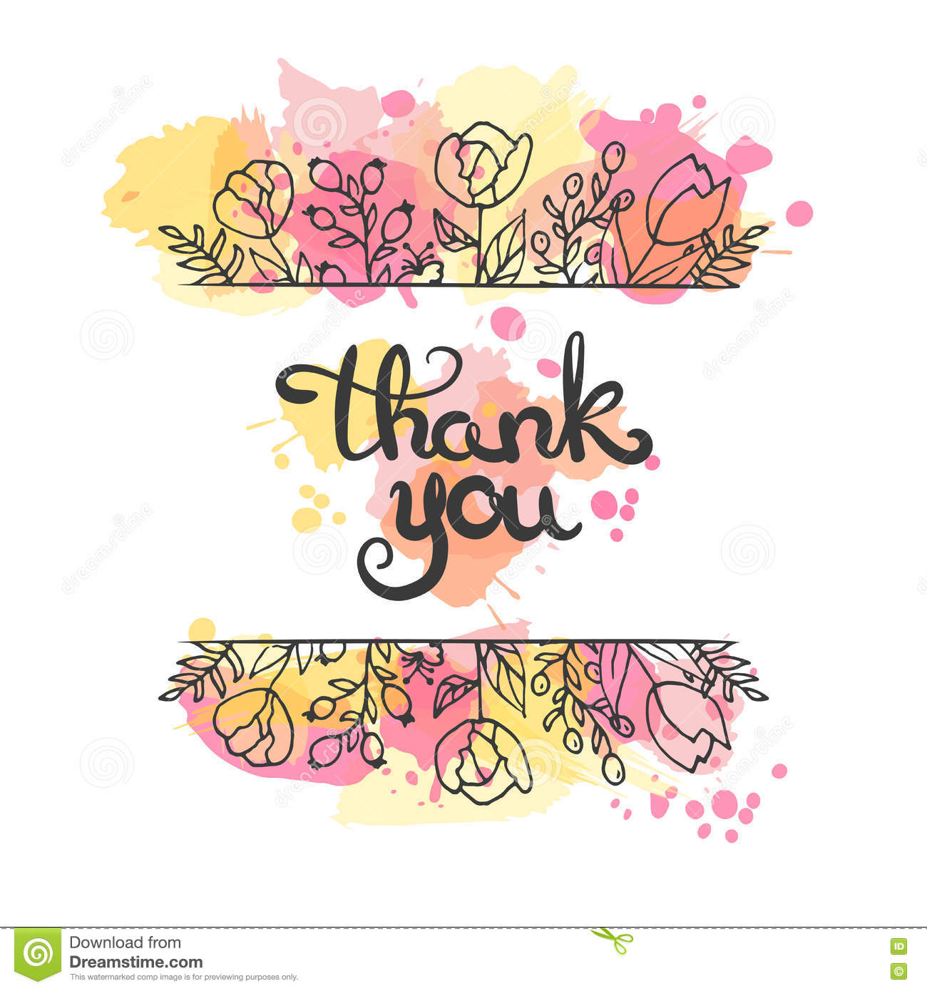 Thank You Card. Hand Drawn Lettering Design. Greeting Card With ...