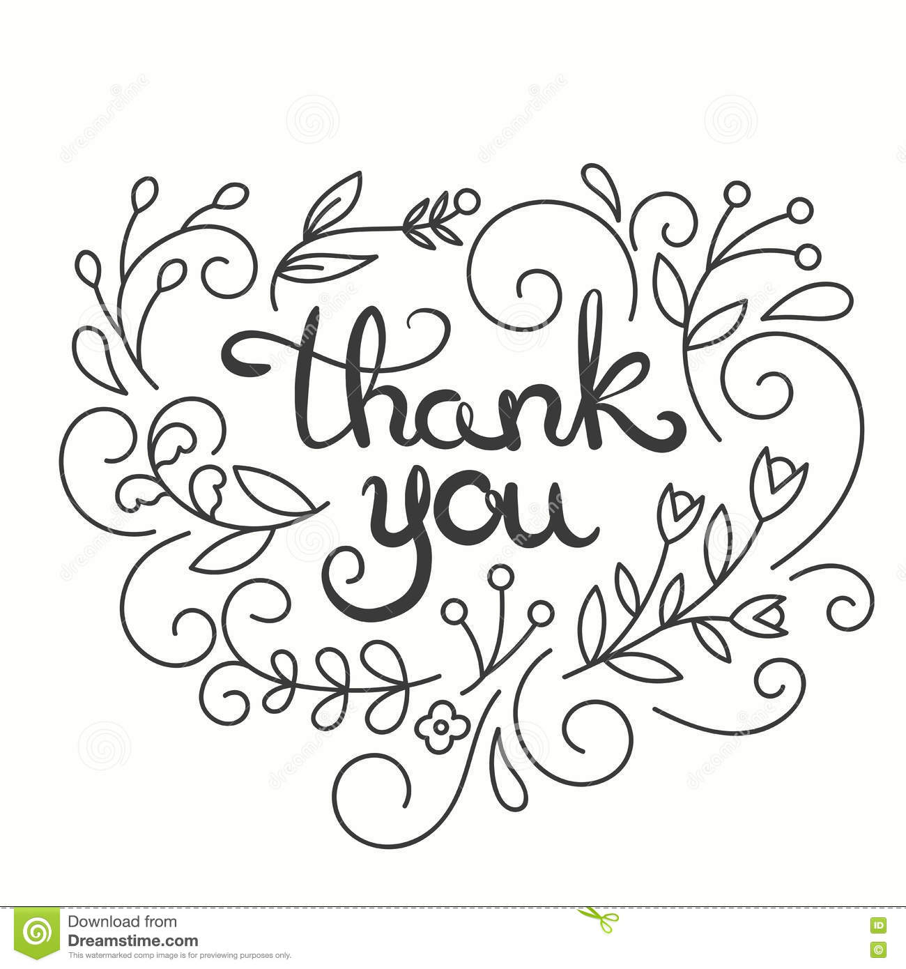 Line Art Card Design : Thank you card hand drawn lettering design greeting