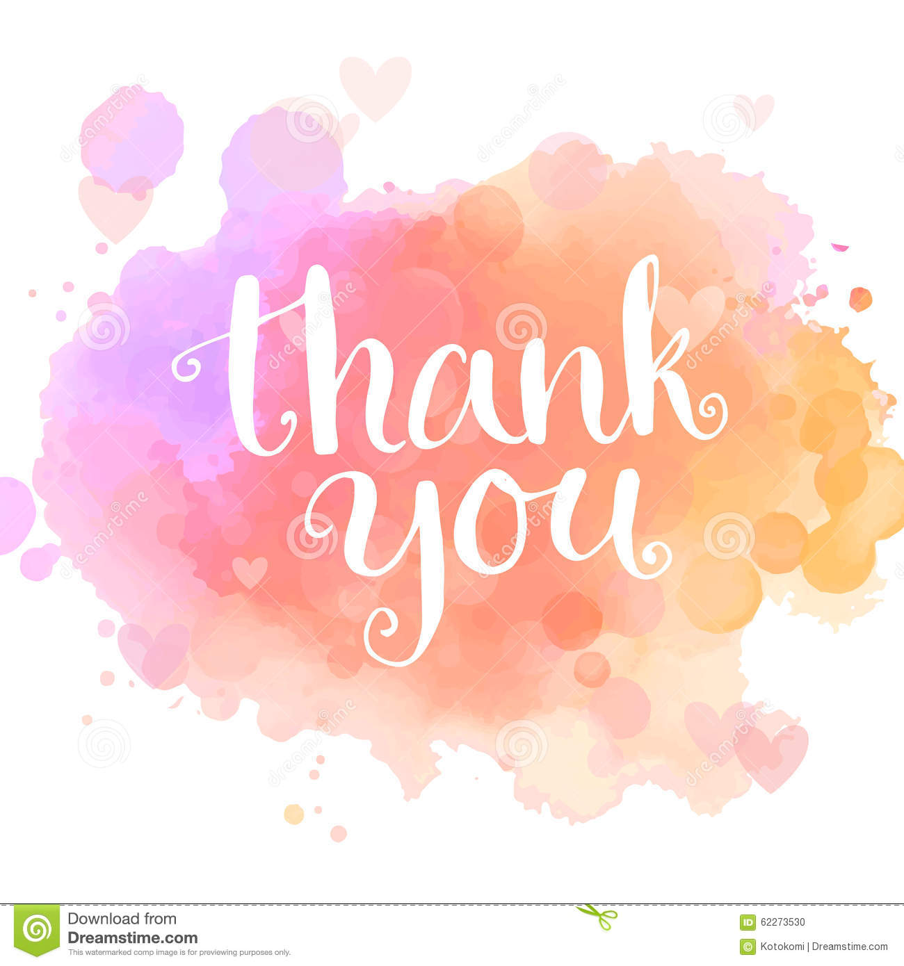 Thank You Card. Handwritten White Phrase On Pink Stock Vector - Image ...