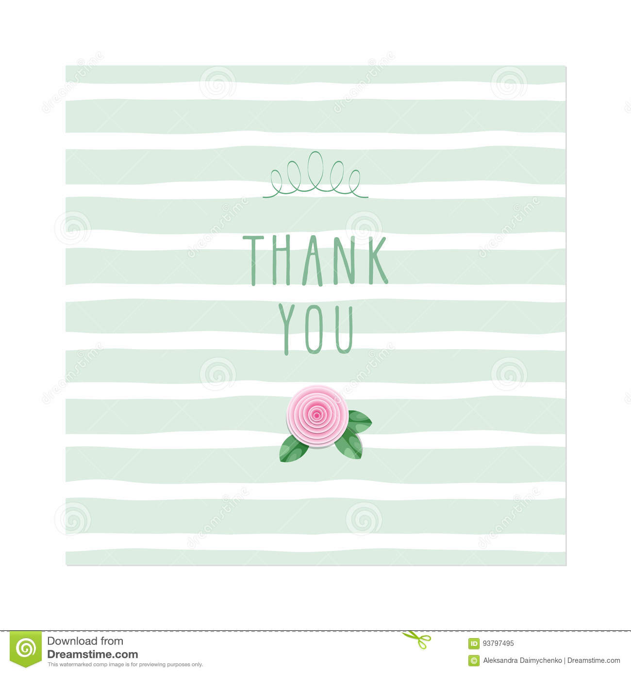 thank you card rose on stripped background template stock vector
