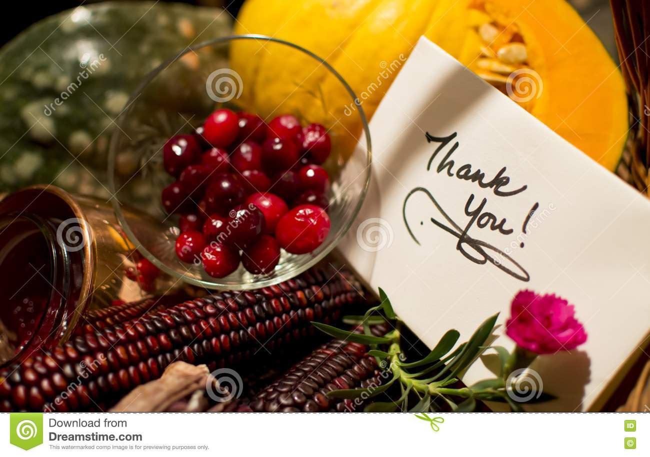 Handwritten Holiday Thank You Card With Cranberry Stock Photo
