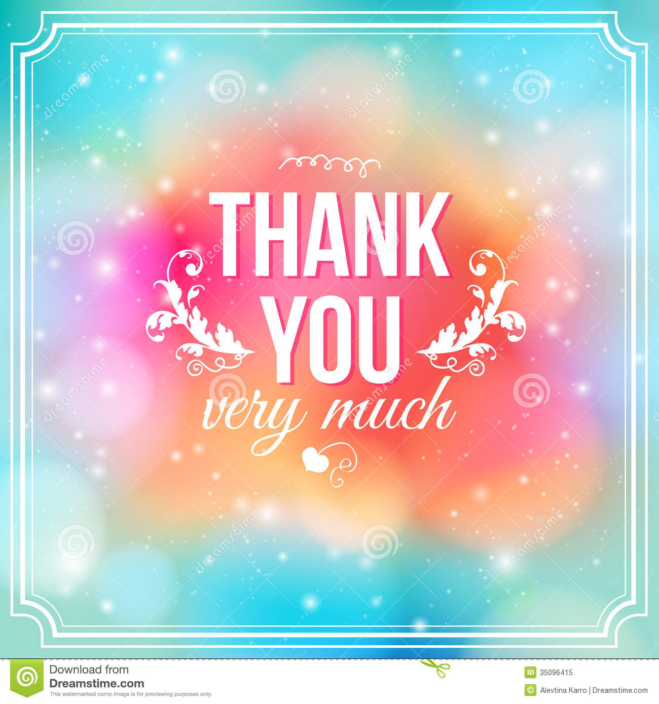 Thank You Card On Soft Colorful Background. Stock Vector ...