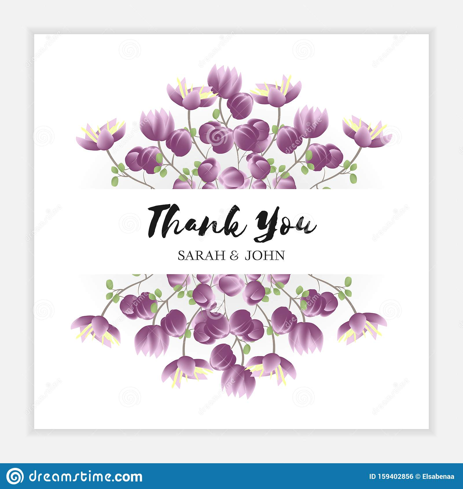 Thank You Card Template With Purple Small Flower Border ...