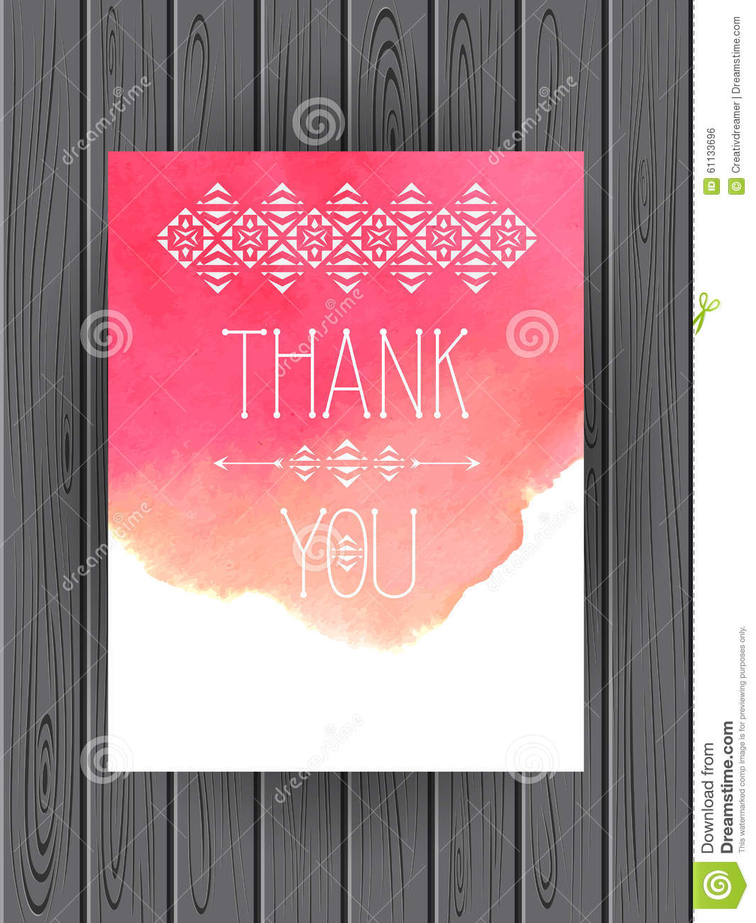 thank you card template vector watercolor background