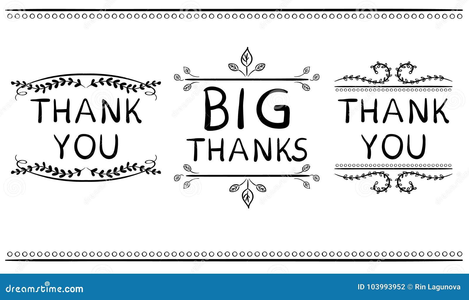 Thank You Card Template | Thank You Card Templates Big Thanks Vector Handwritten Words With