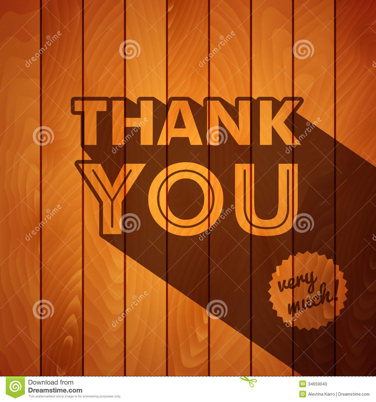 Thank You Card With Typography On A Wooden Backgro Stock