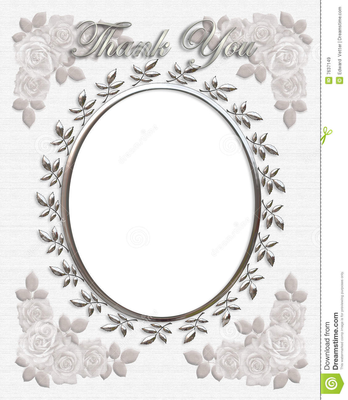 oval frame with pretty silver accents for wedding thank you card ...