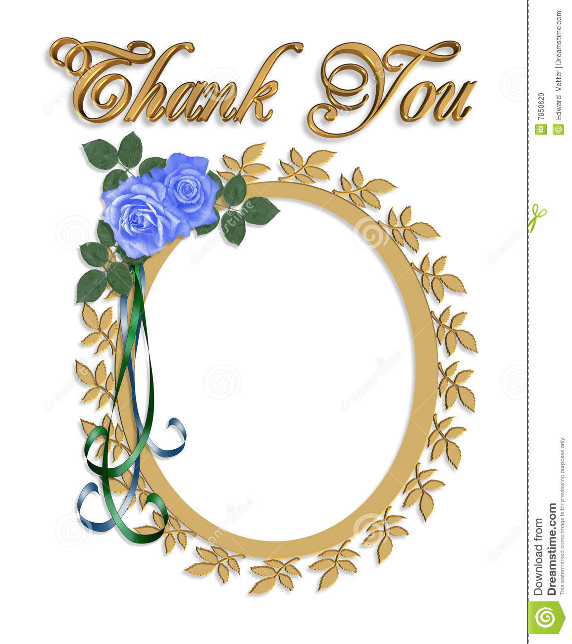 thank you card with wedding frame