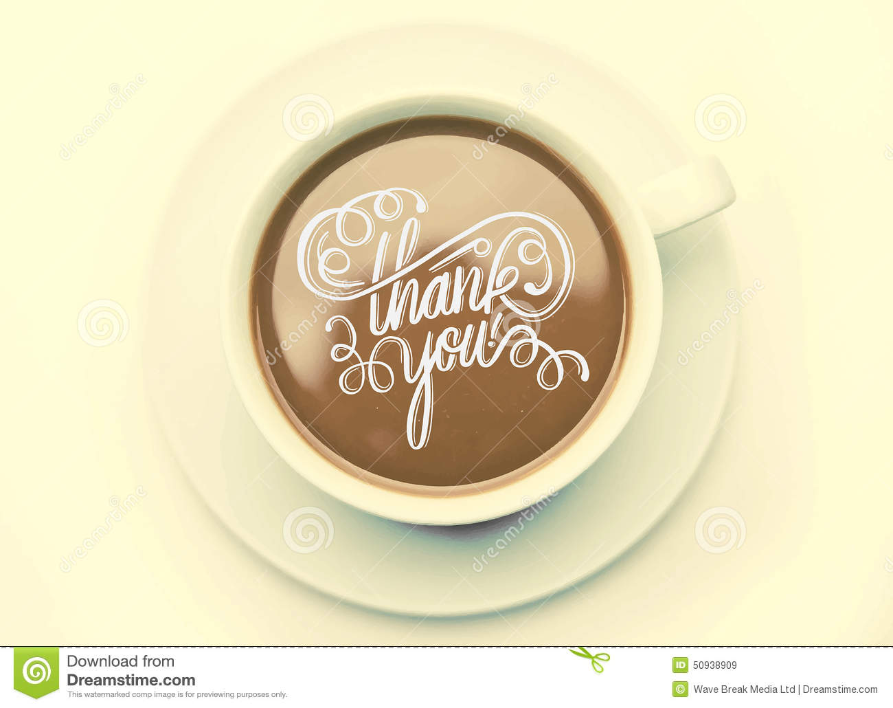 Thank You With Coffee Cup Vector Stock Vector - Image: 50938909