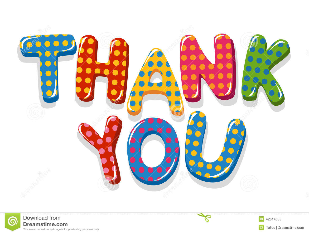 Thank You Colorful Lettering With Polka Dot Pattern Stock