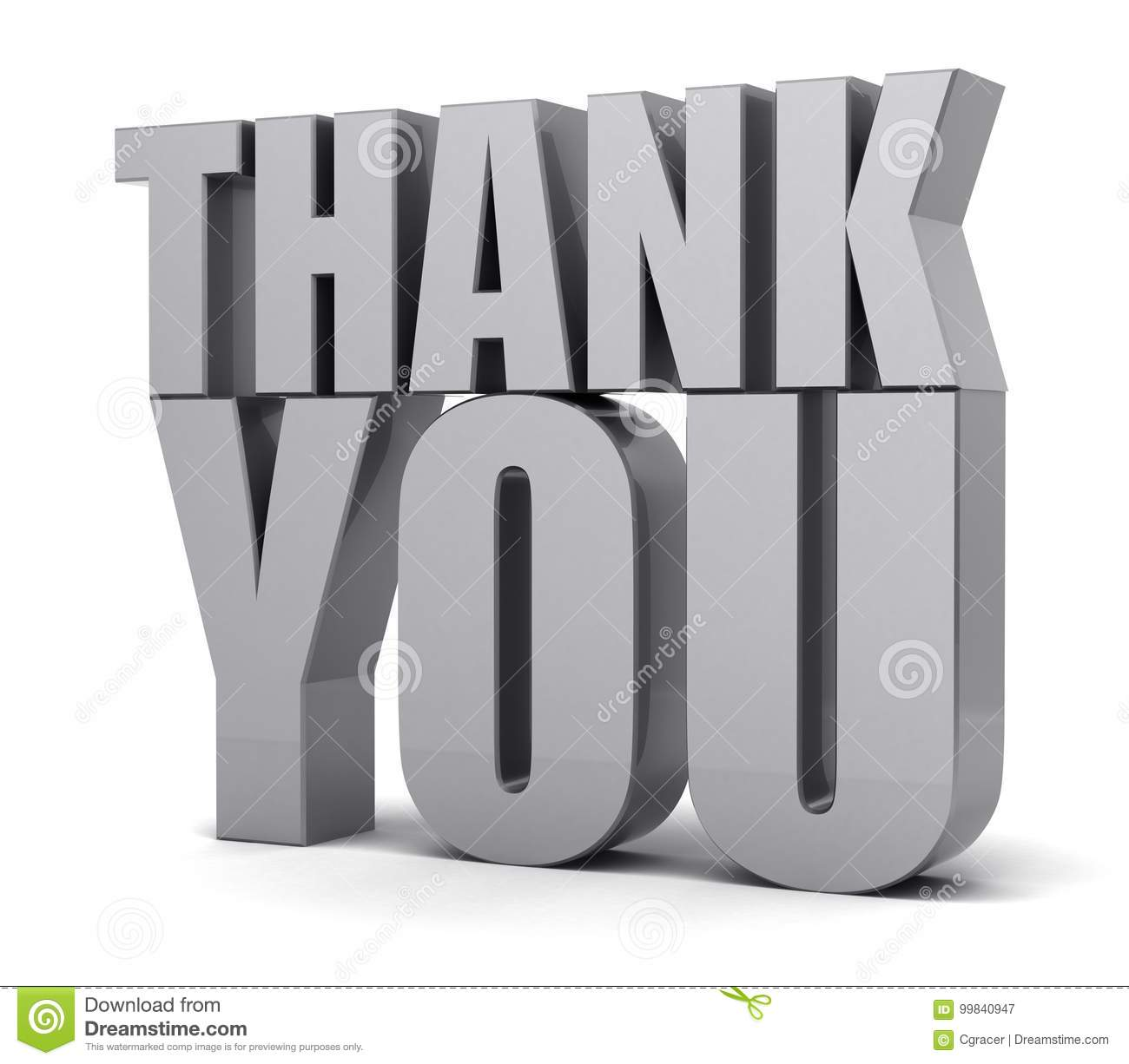 Thank You 3d Text Stock Illustration Illustration Of Thanks 99840947