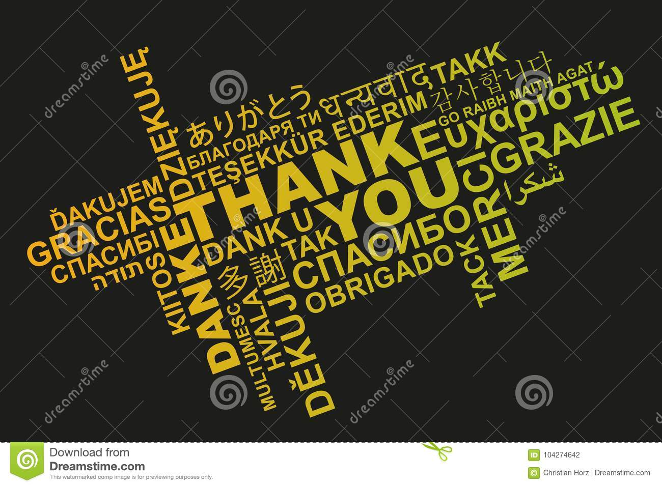 Thank You In Different Languages Word Cloud Stock Illustration