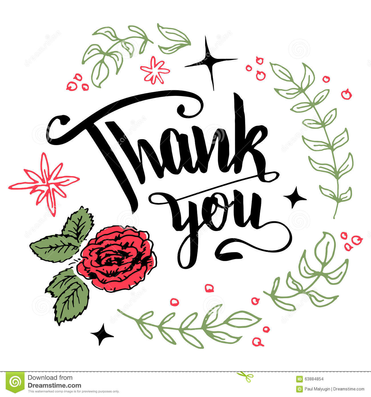 Thank You Floral Wreath Calligraphy Stock Vector Image