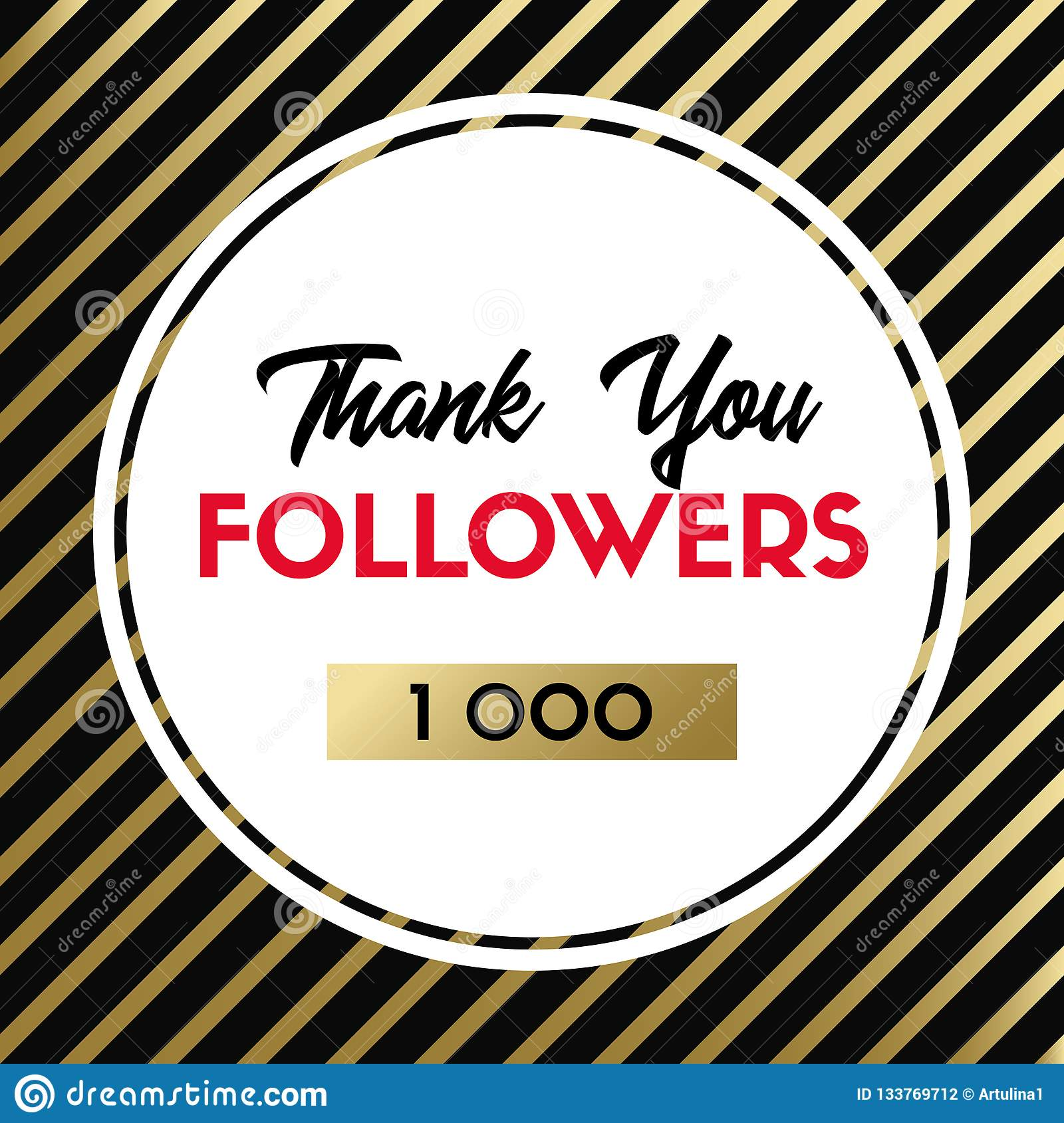 Thank you 1000 followers. Vector card for social media