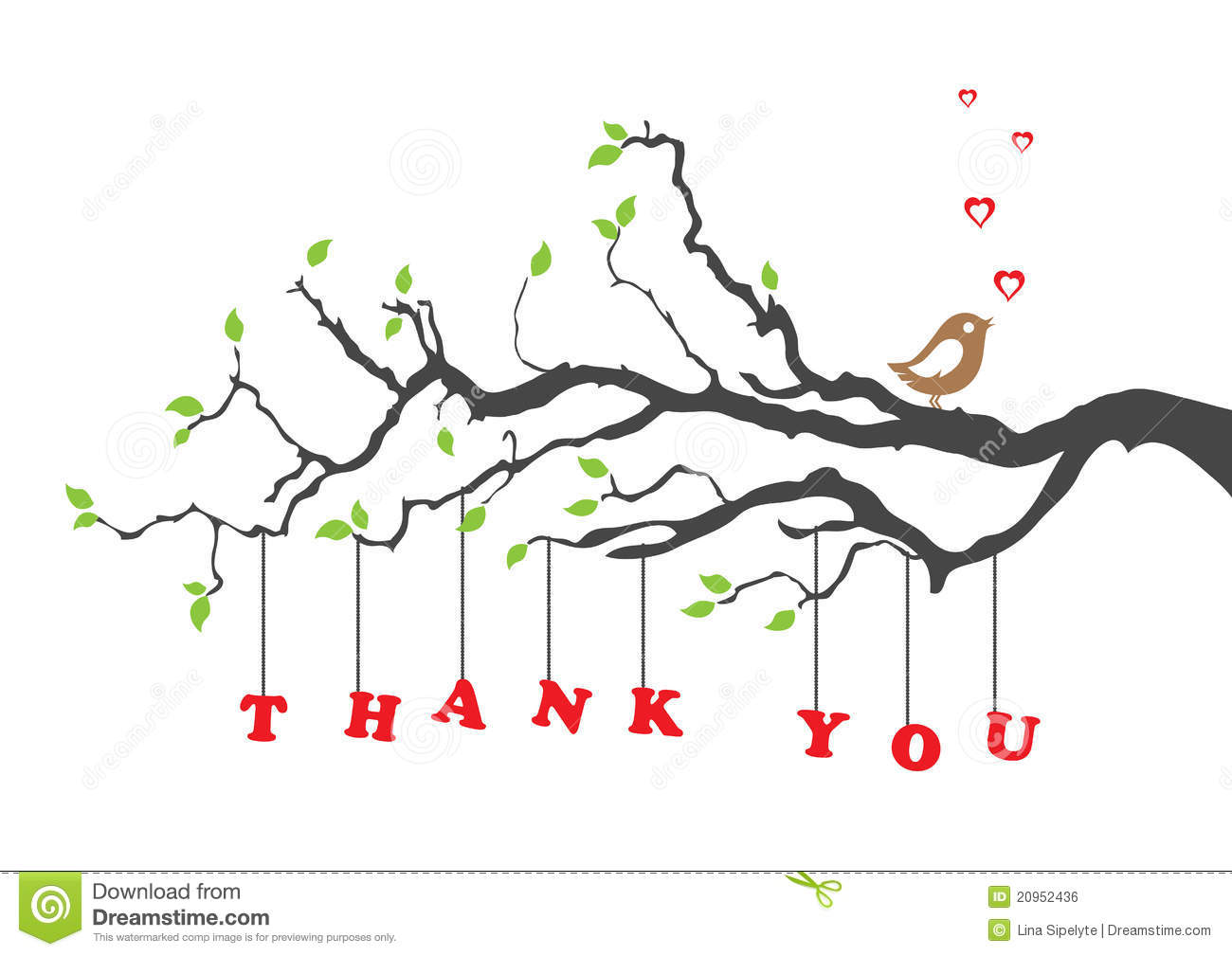 'Thank You' Greeting Card With Bird Stock Vector