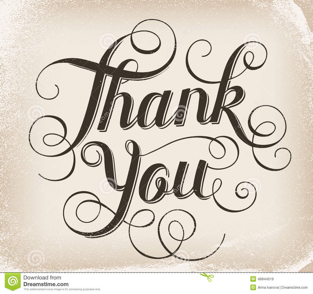 Thank you hand lettering calligraphy stock vector Thank you in calligraphy writing