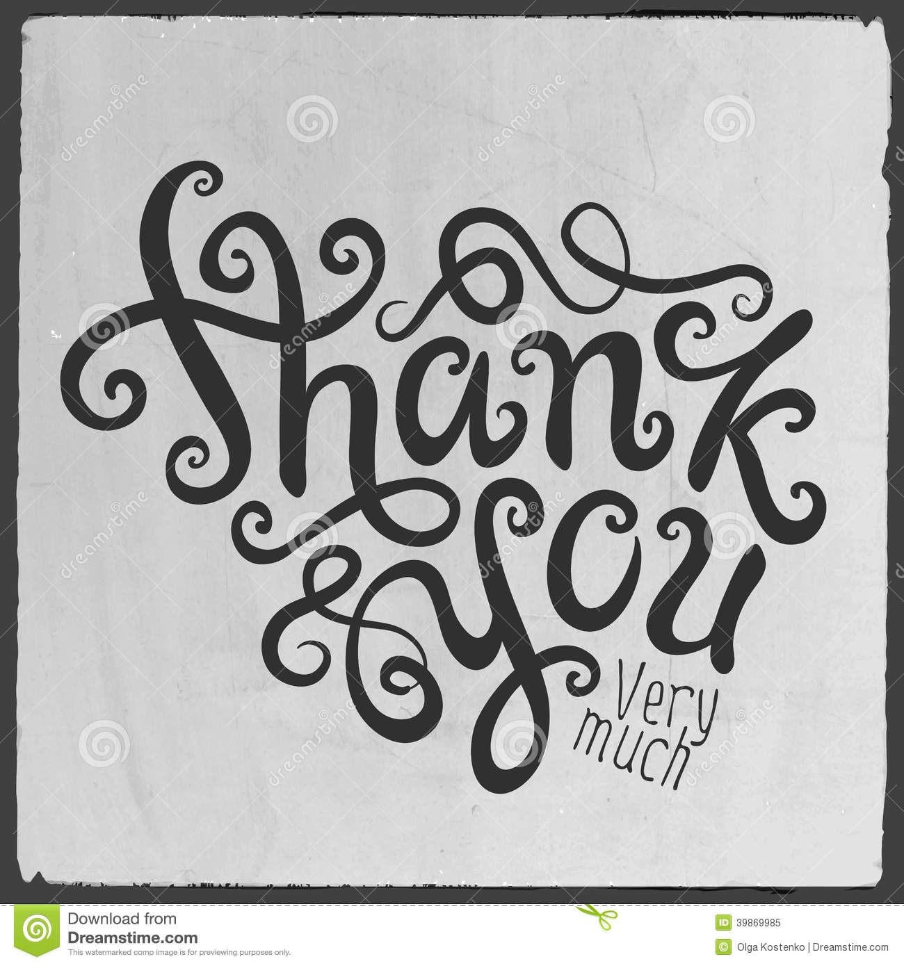 Thank You Hand Lettering Stock Vector Image 39869985